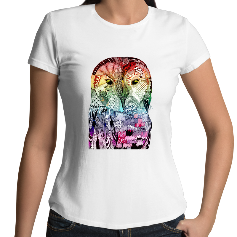 Sportage Surf - Womens T-shirt - Rainbow 'Wise Owl' - Front