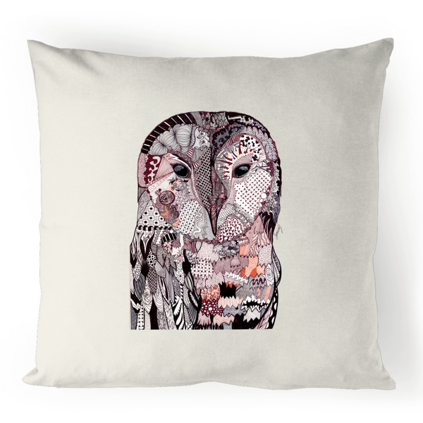 100% Linen Cushion Cover - 'Wise Owl' Original Colour