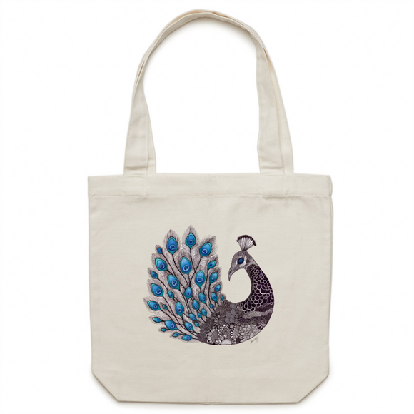 Canvas Tote Bag - 'Majestic Peacock' - One Sided