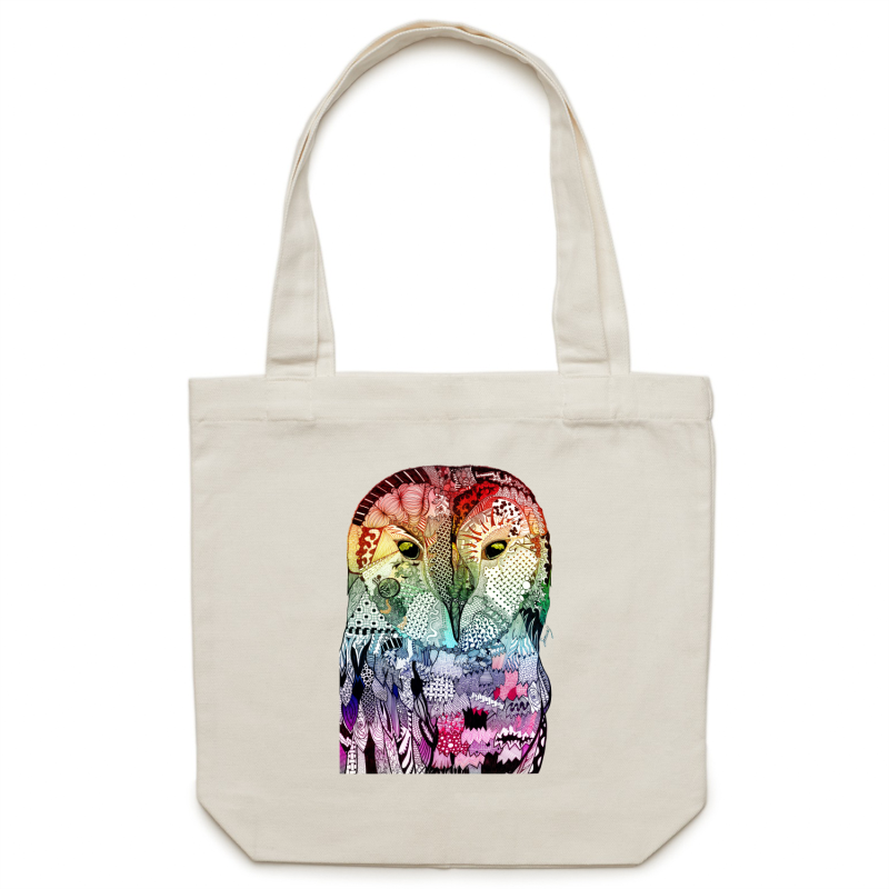 Canvas Tote Bag - Multicolour Wise Owl & Turtle - Double Sided