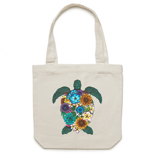 Canvas Tote Bag - Floral Turtle - Colour - Double Sided