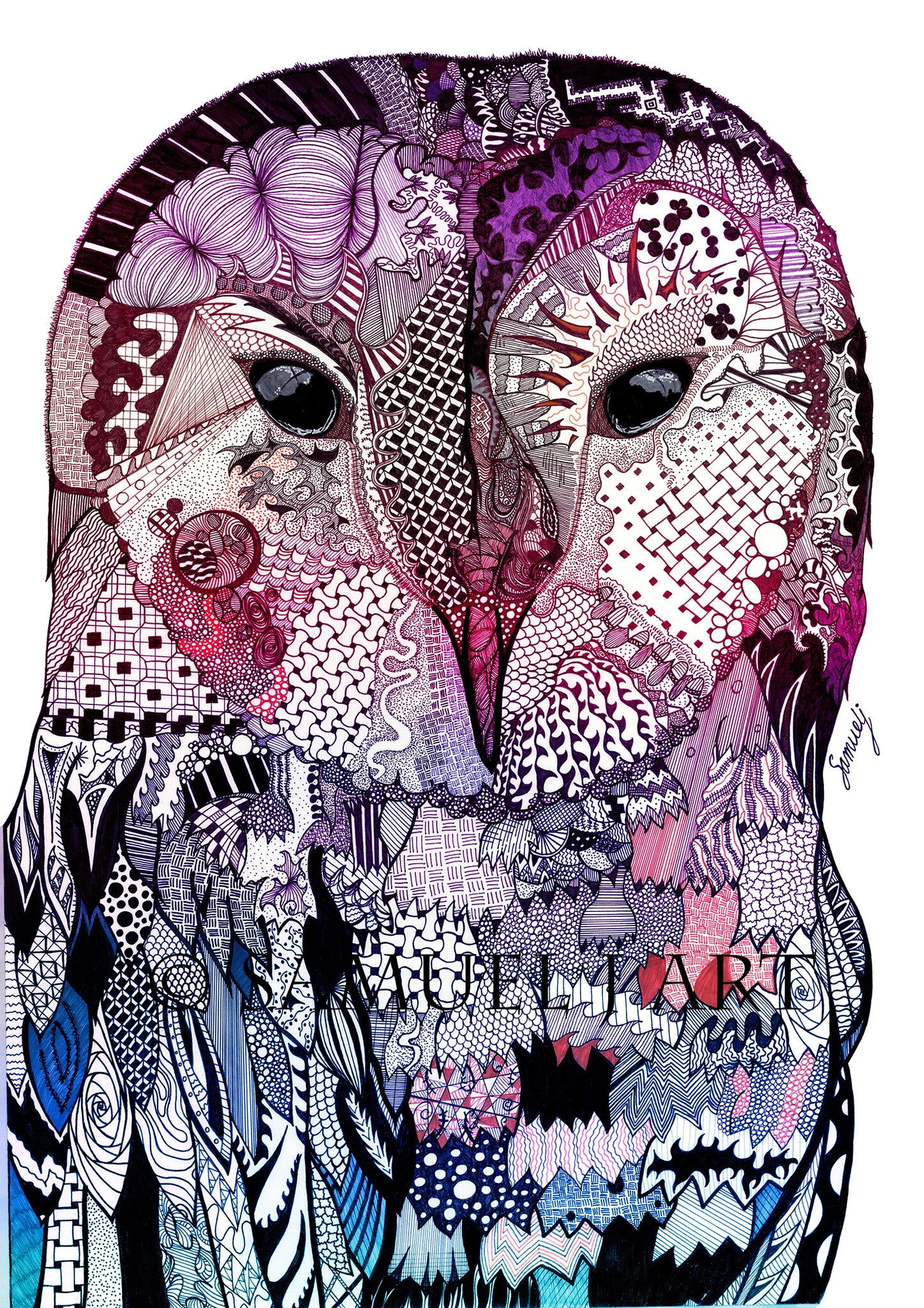Wise Owl - Purple & Blue - Prints