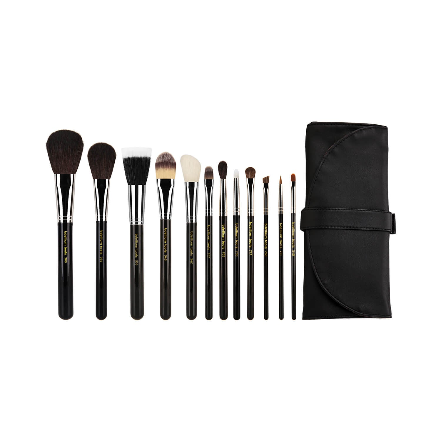 BDellium Tools Maestro Complete 12pc Brush Set with Roll-up Pouch