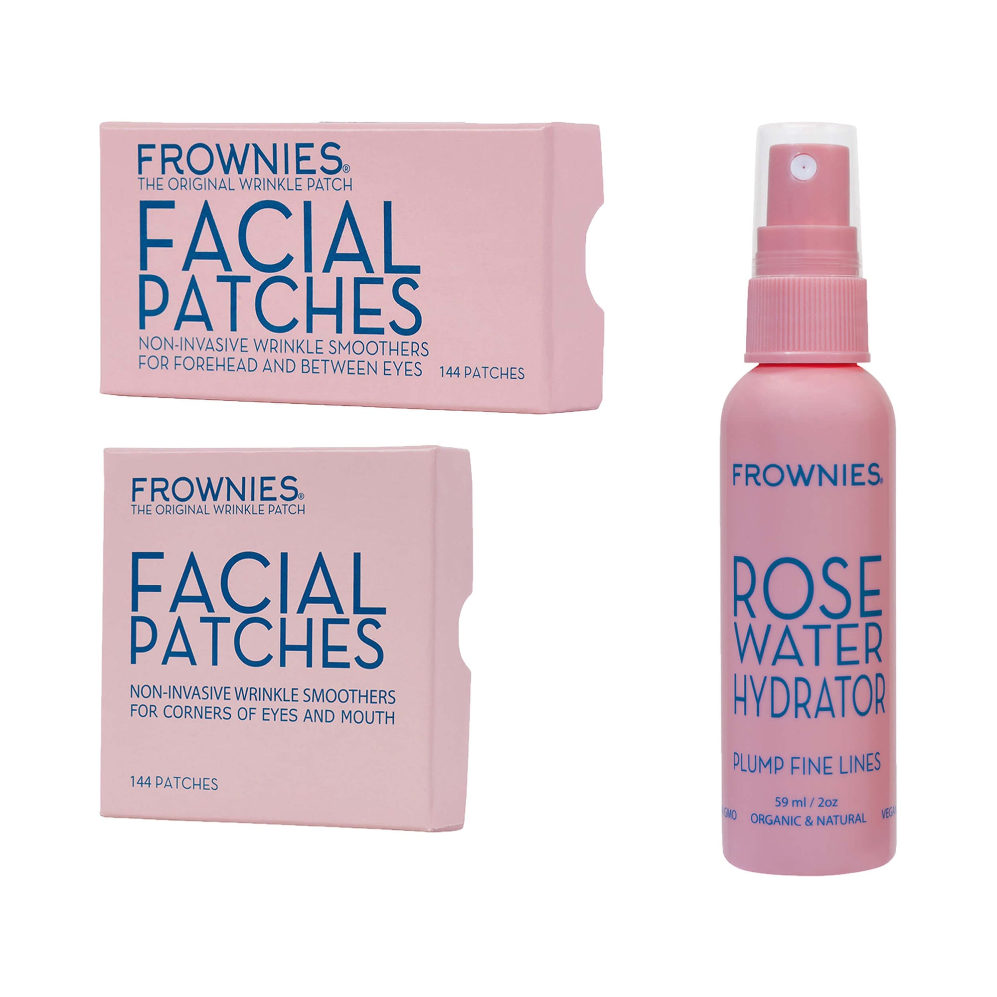 Frownies Corners of Eyes & Mouth (CEM) Forehead & Between Eyes (FBE) Rose Water Hydrator Activator Spray Combo