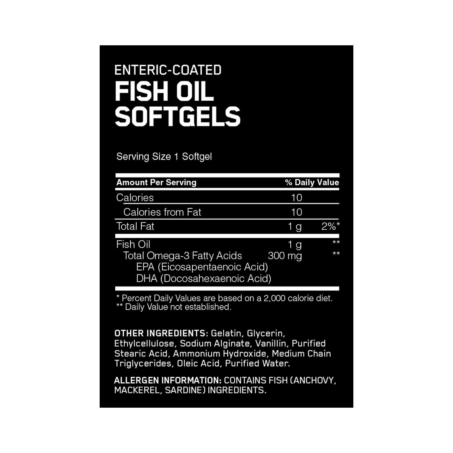 Optimum nutrition enteric coated fish oil 300 mg 200 for Fish oil nutrition facts