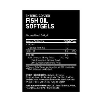 Optimum Nutrition Enteric Coated Fish Oil 300 MG 200 Softgels Supplement Information