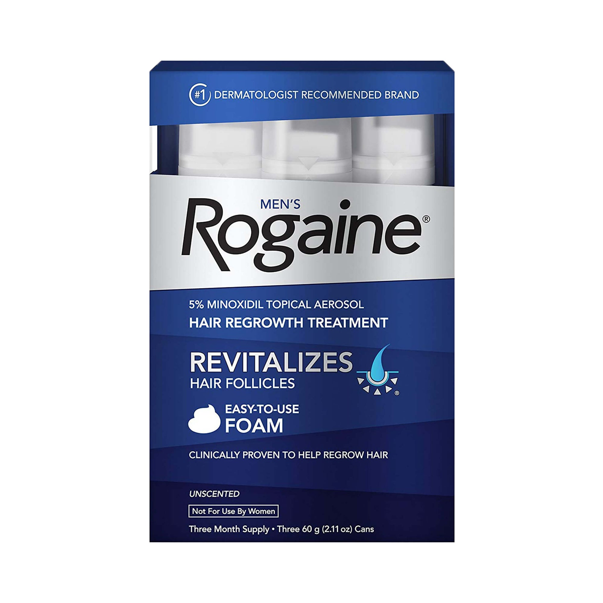 Rogaine Men's Rogaine 5% Minoxidil Unscented Foam for Hair Loss and Hair Regrowth 3-Month Supply