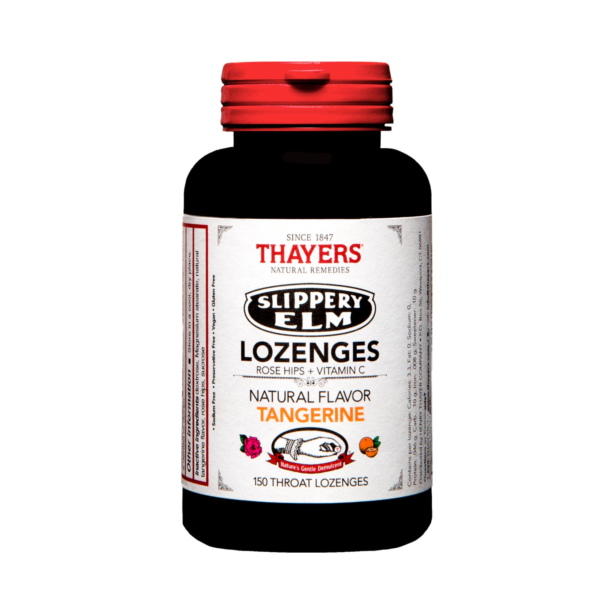 Thayers Slippery Elm Lozenges Rose Hips Tangerine 150 Lozenges
