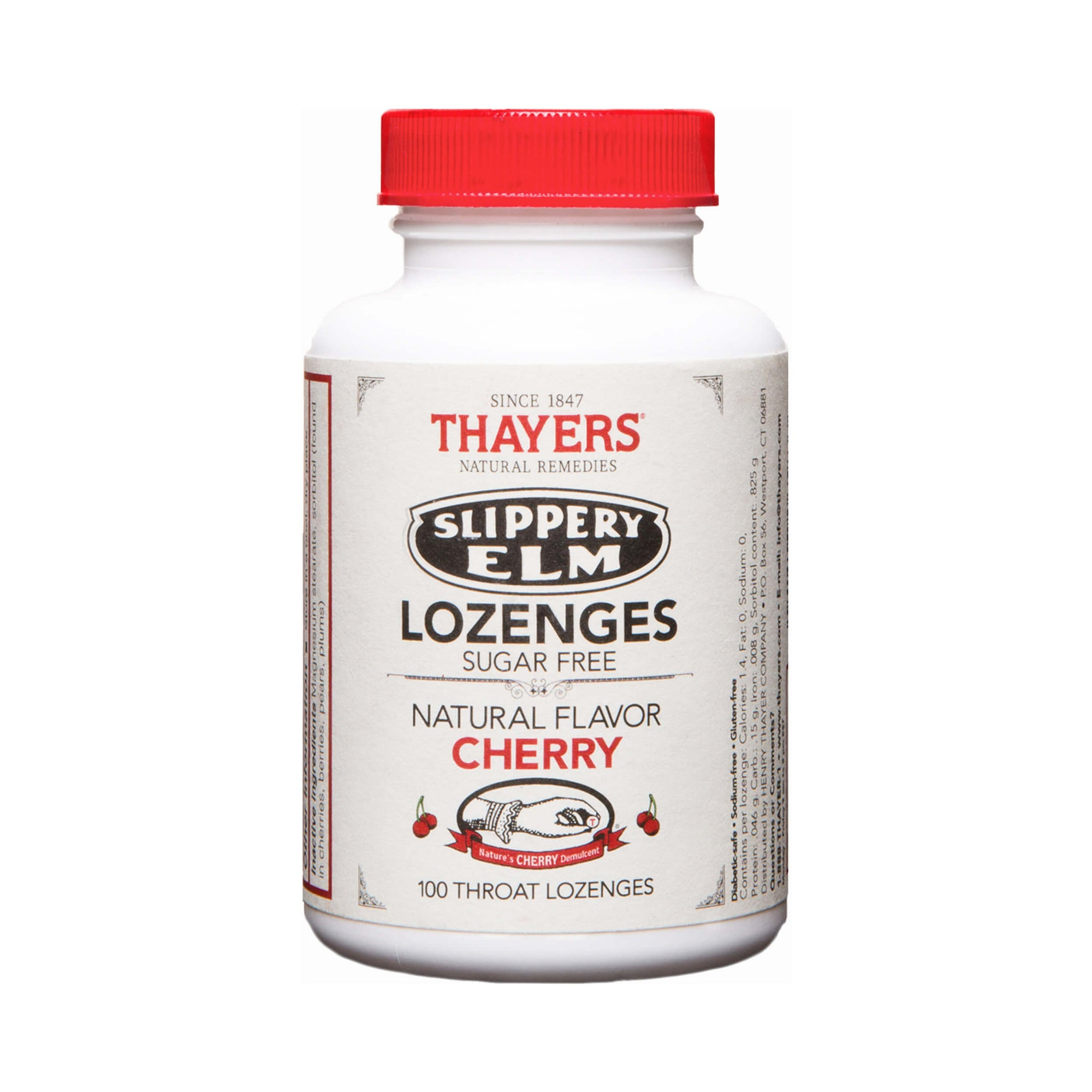 Thayers Sugar-Free Slippery Elm Lozenges Cherry 100 Lozenges