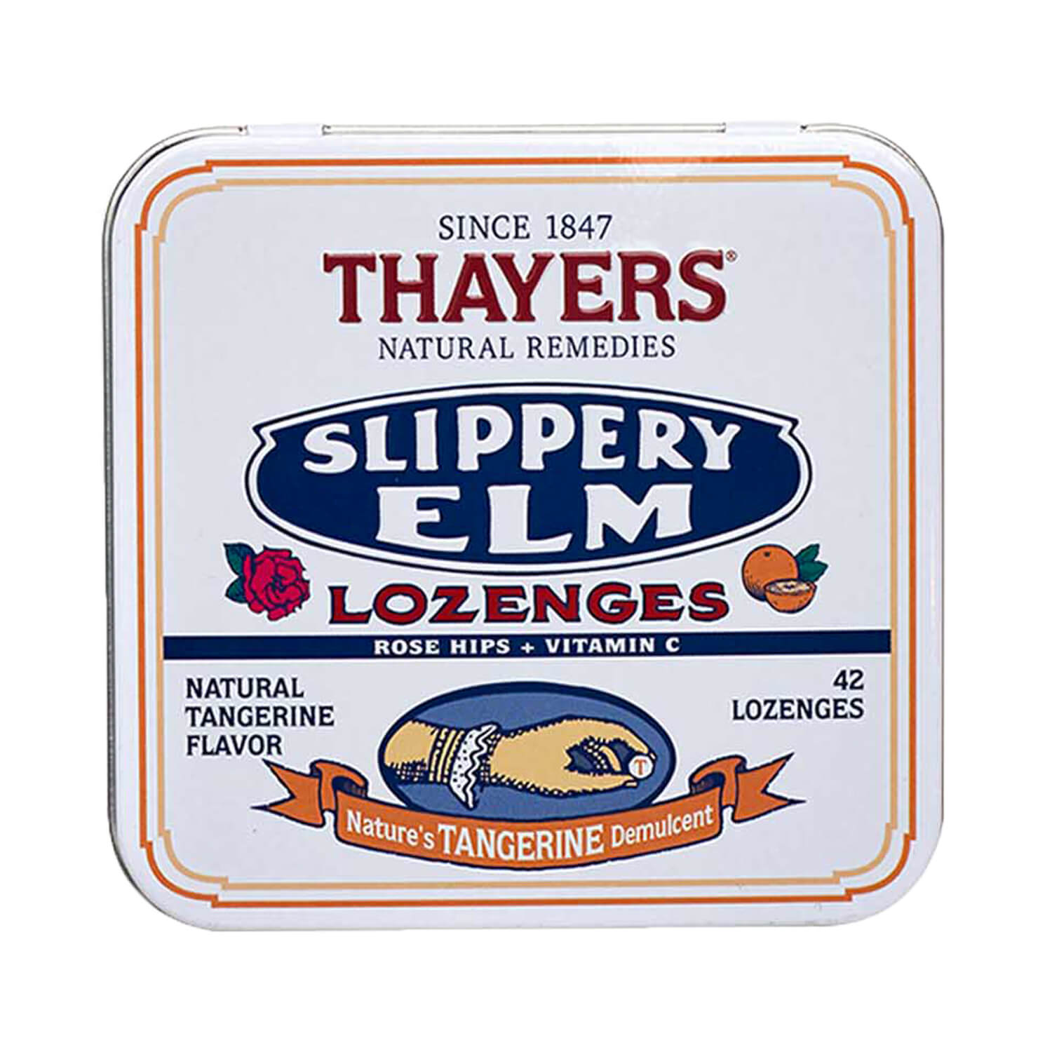 Thayers Tangerine Slippery Elm Lozenges 42 Ct
