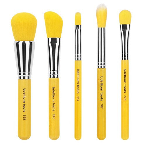BDellium Tools - Yellow Bambu Mineral 5pc. Brush Set
