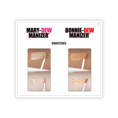 theBalm Mary-Dew Manizer Bonnie-Dew Manizer Liquid Highlighters Swatches