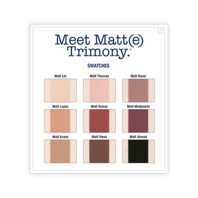 theBalm Meet Matt(e) Trimony Matte Eyeshadow Palette Swatches