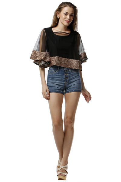Black Net and Bronze Sequinned Cape Top