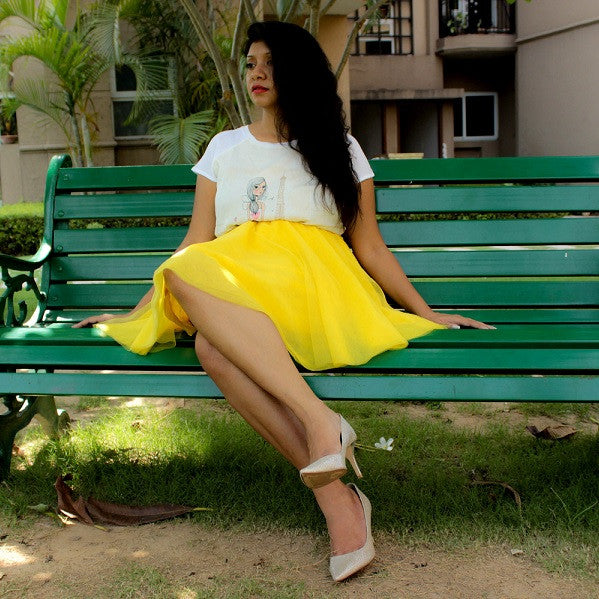 Corals With Blues Richa Saxena in Lemon Fizz Skirt