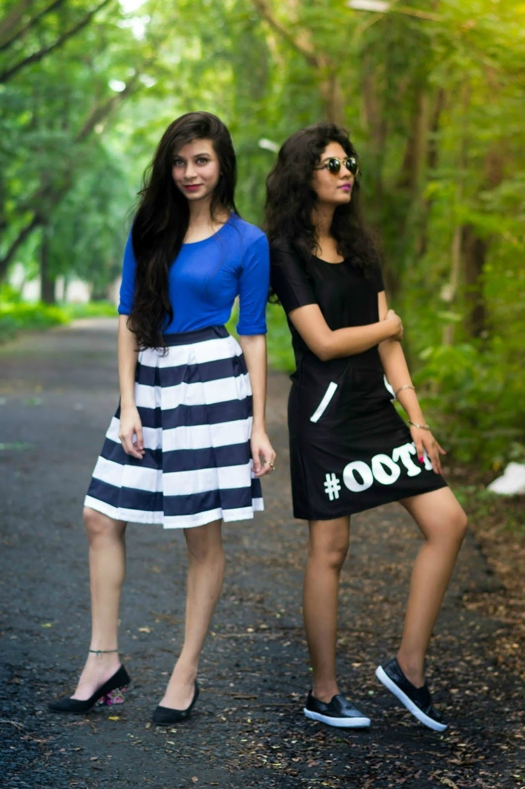 Street In Vogue Linnet and Pooja in Box Pleat Skirt