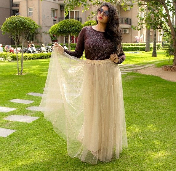 Corals With Blues Richa Saxena in Nude Tulle Maxi Skirt