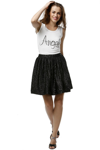 Black Sequins Boxed Pleat Skirt