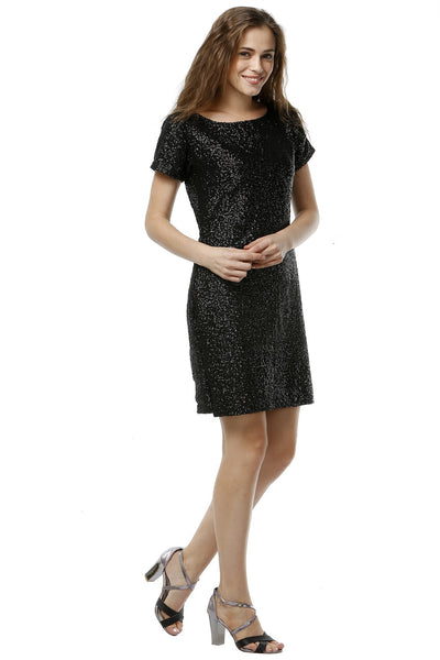 Black Sequins Dress - Half Sleeves