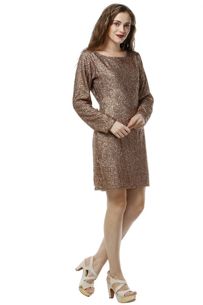 Bronze Sequins Dress - Full Sleeves