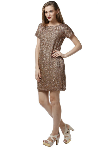 Bronze Sequins Dress - Half Sleeves