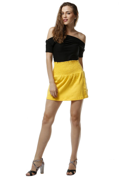 Canary Yellow Slip On Jersey Skirt
