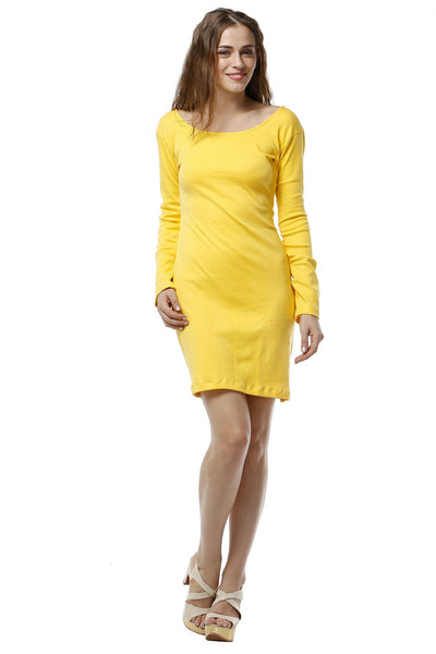 Fitted Jersey Dress - Canary Yellow