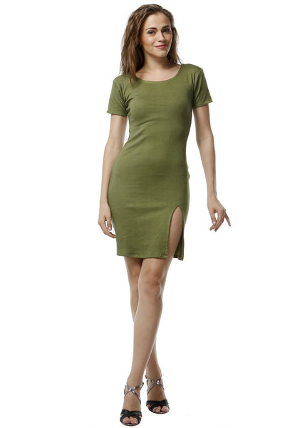 Olive Green Dress - Front Slit