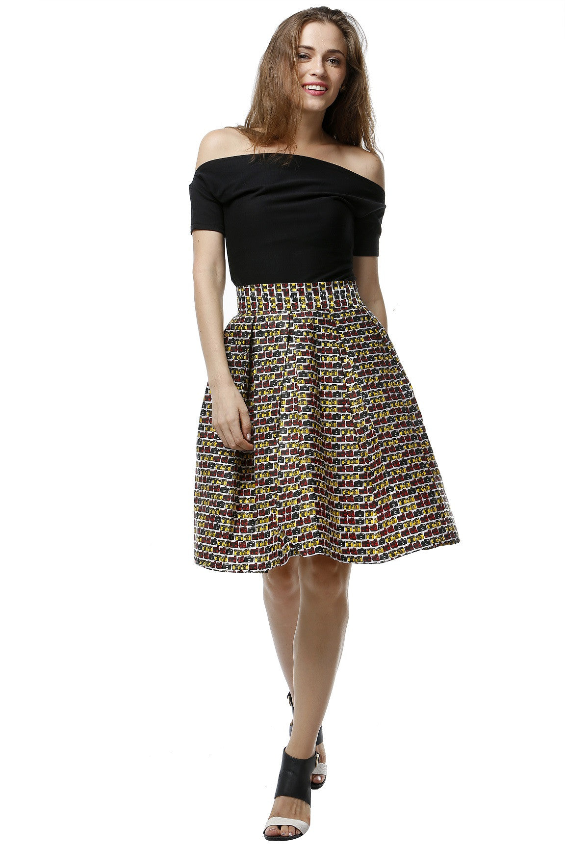 Quirky Camera Print Boxed Pleat Skirt