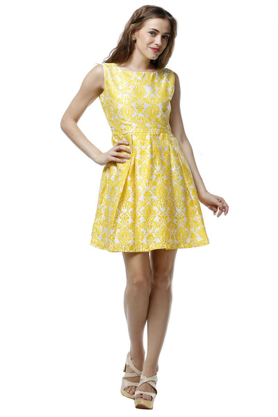Yellow Damask Print A-Line Dress