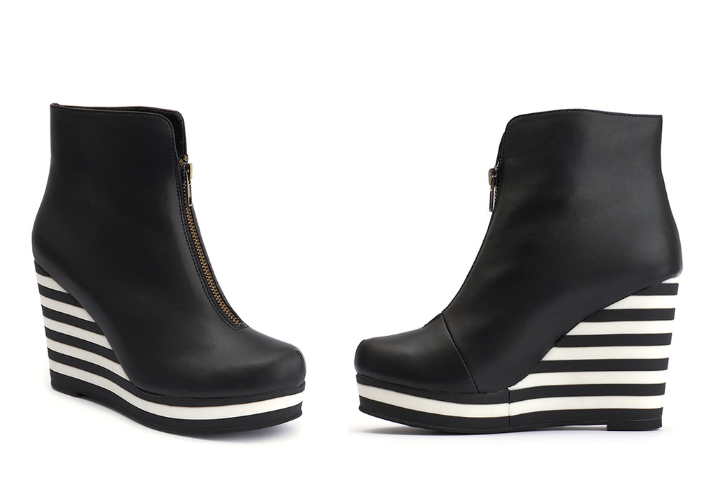 Buy the striped wedge bootie Ketty Gorgeous at Lola Ramona today!