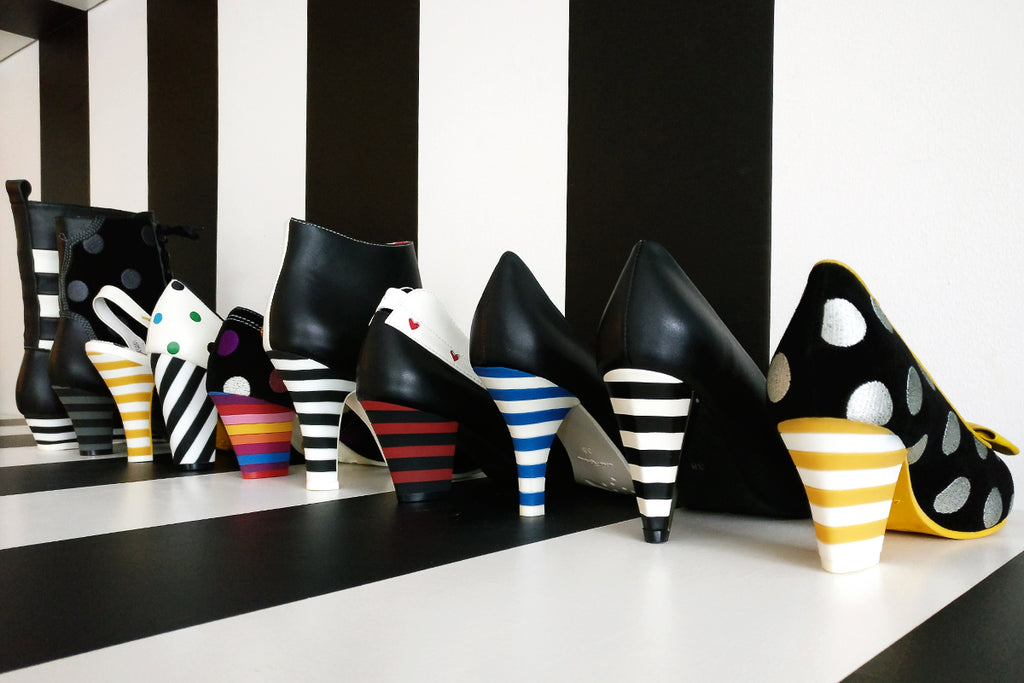 Striped heels in Lola Ramona showroom!