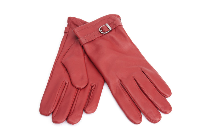 Red Lambskin Ladies Gloves with Buckle