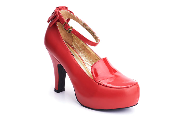 50s Angie Grow A Back Bow Pumps in Burned Red