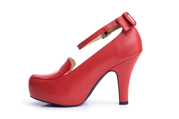50s Angie Grow A Back Bow Pumps in Burned Red - Inside