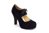 50s Angie On A Platform Suede Pumps in Black