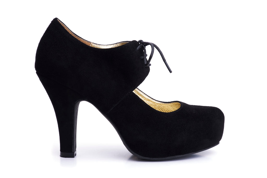 50s Angie On A Platform Suede Pumps in Black - Outside