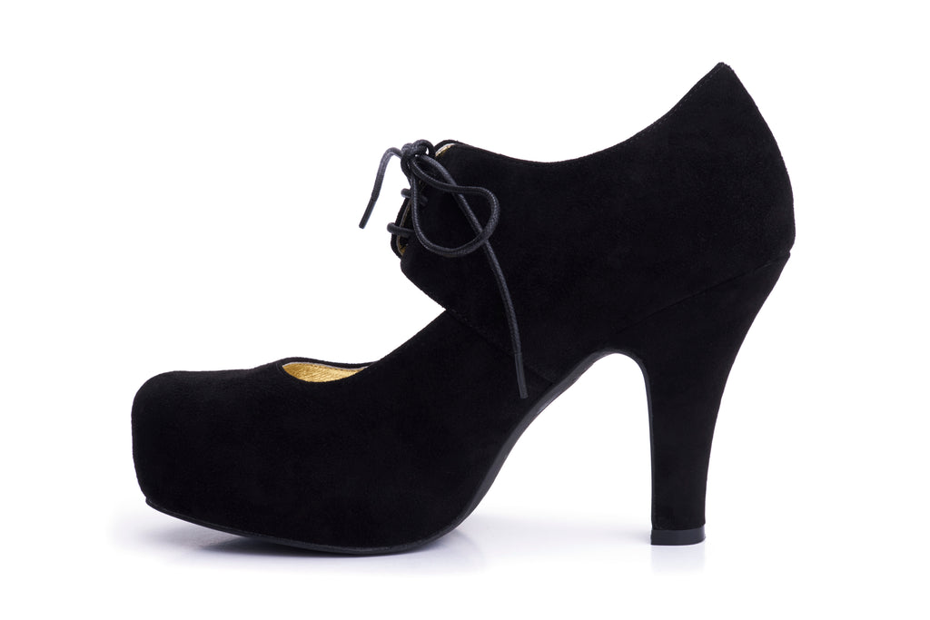 50s Angie On A Platform Suede Pumps in Black - Inside