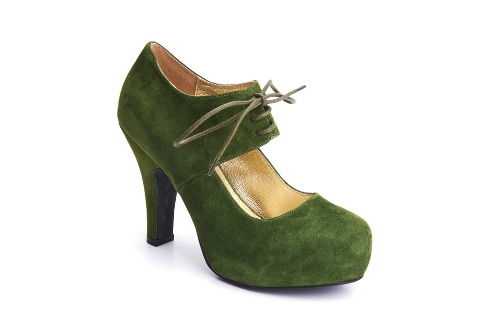 50s Angie On A Platform Suede Pumps in Grass Green