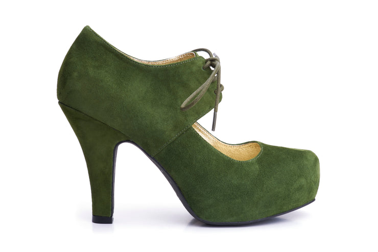 50s Angie On A Platform Suede Pumps in Grass Green - Outside