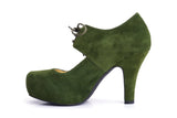 50s Angie On A Platform Suede Pumps in Grass Green - Inside