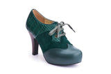 50s Angie Make It Happen Platform Shoe Booties in Bottle Green