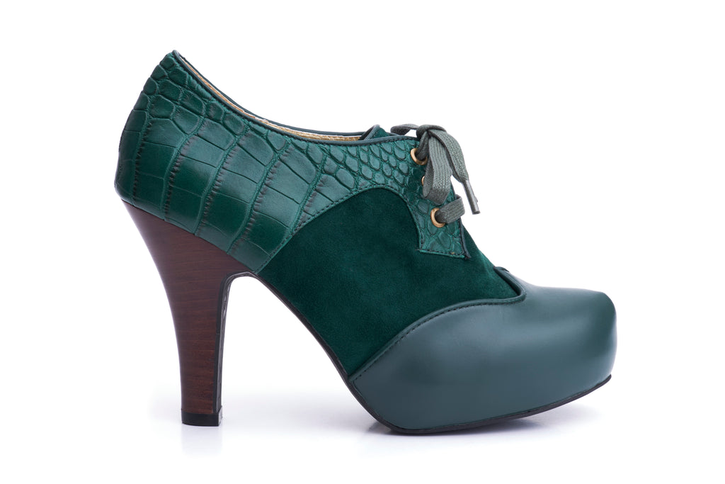 50s Angie Make It Happen Platform Shoe Booties in Bottle Green - Outside