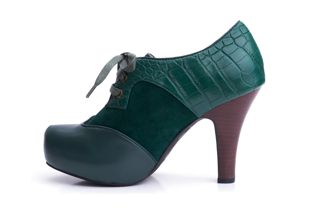 50s Angie Make It Happen Platform Shoe Booties in Bottle Green - Inside