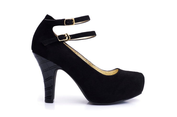 50s Angie Life is a Party Suede Pumps in Black - Outside