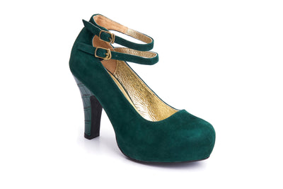50s Angie Life is a Party Suede Pumps in Bottle Green