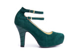 50s Angie Life is a Party Suede Pumps in Bottle Green - Outside