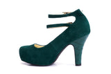 50s Angie Life is a Party Suede Pumps in Bottle Green - Inside