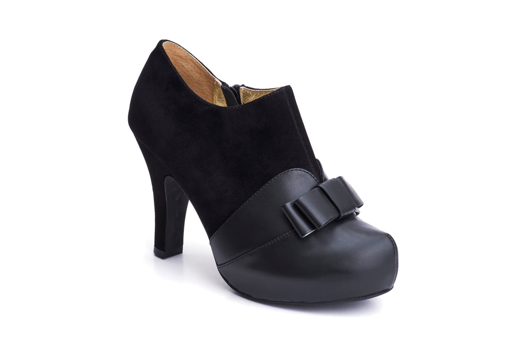 50s Angie Take a Bow Platform Shoe Booties in Black