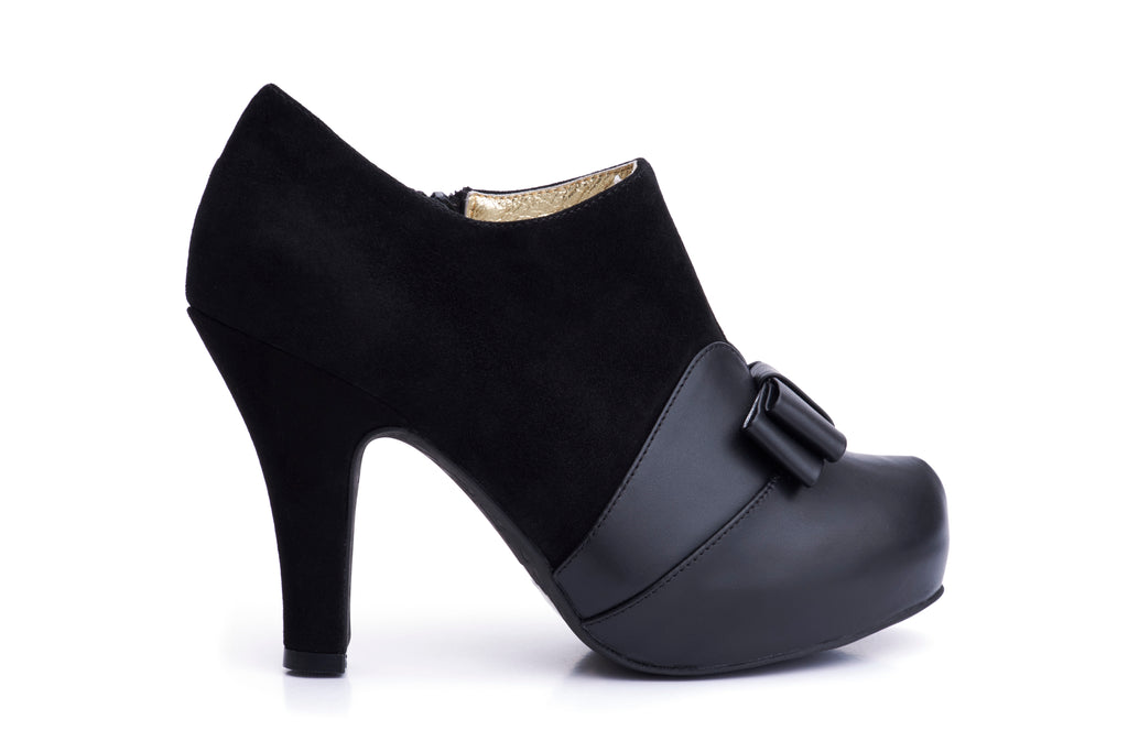 50s Angie Take a Bow Platform Shoe Booties in Black - Outside